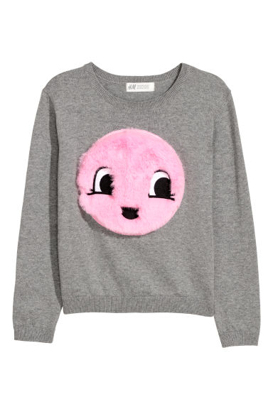 Knitted jumper with appliqué - Grey marl - Kids | H&M CN