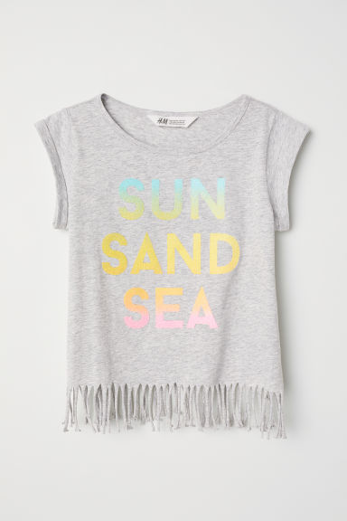 Jersey top with fringing - Grey marl/Caviar beads - Kids | H&M