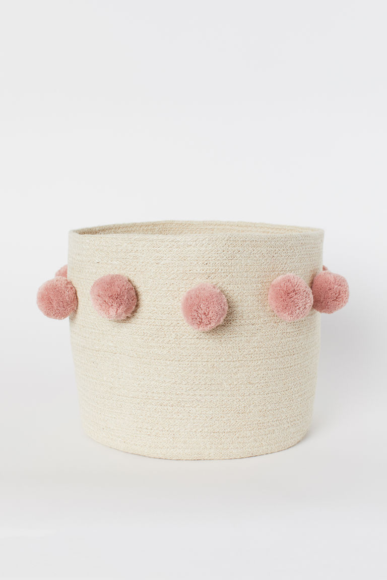 Storage basket with pompoms - Light beige/Old rose - Home All | H&M GB