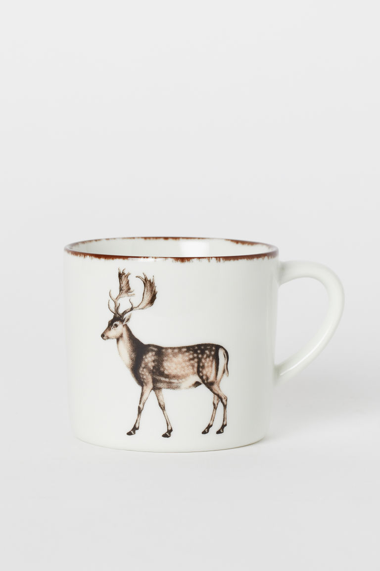 Porcelain cup - White/Reindeer - Home All | H&M GB