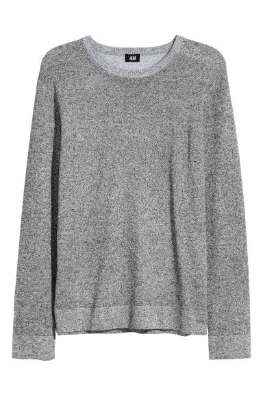 Fine-knit jumper - Dark grey marl -  | H&M