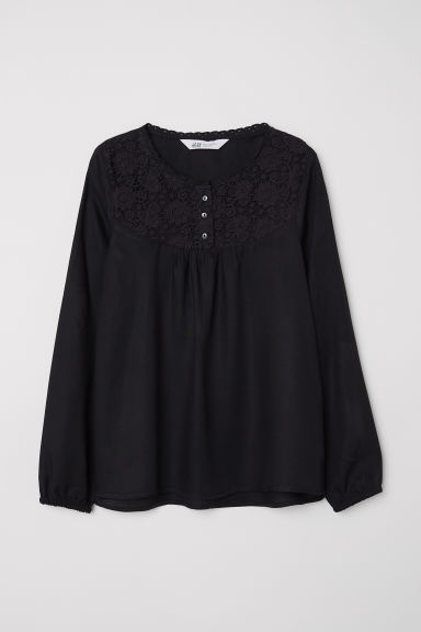 Blouse with lace - Black -  | H&M CN