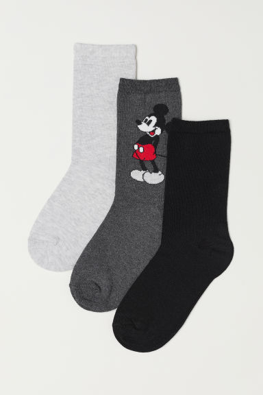 3-pack socks - Dark grey/Mickey Mouse - Ladies | H&M CN