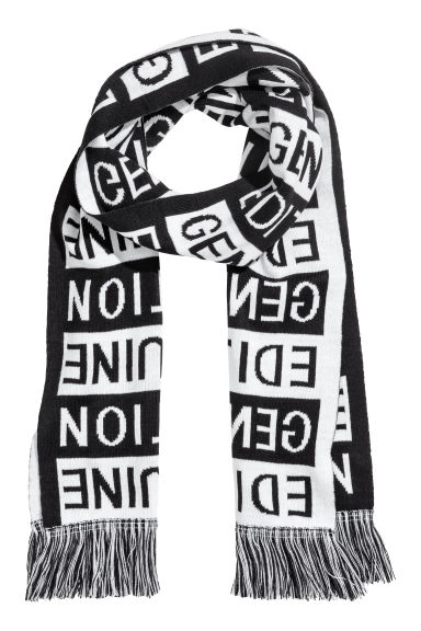 Jacquard-knit scarf - Black/White -  | H&M