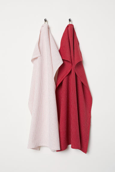2-pack tea towels - White/Red - Home All | H&M CN