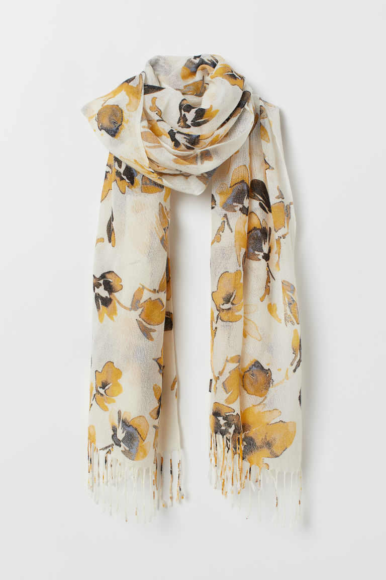 Patterned Scarf - Cream/floral - Ladies | H&M US