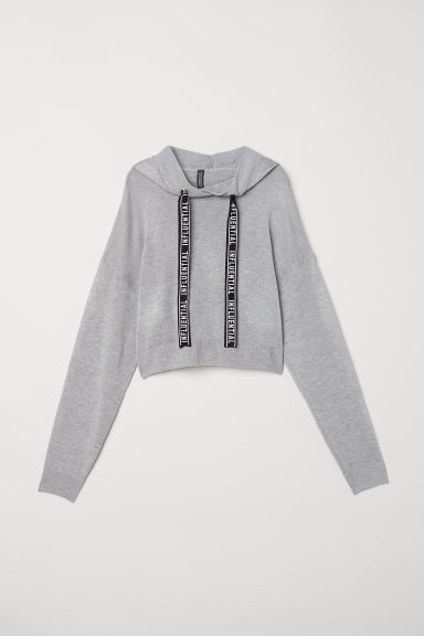 Fine-knit hooded jumper - Light grey -  | H&M