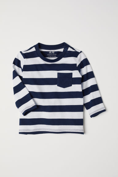 Jersey top - Dark blue/White striped - Kids | H&M