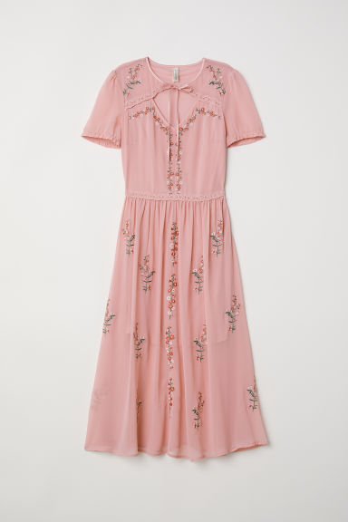Puff-sleeved dress - Old rose/Embroidery - Ladies | H&M GB