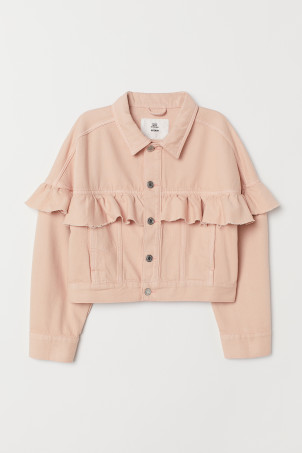 Cropped flounced twill jacket
