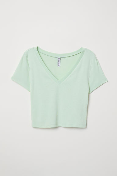 Cropped top - Light green -  | H&M