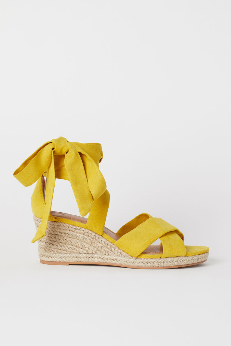 Wedge-heel sandals - Yellow - Ladies | H&M GB