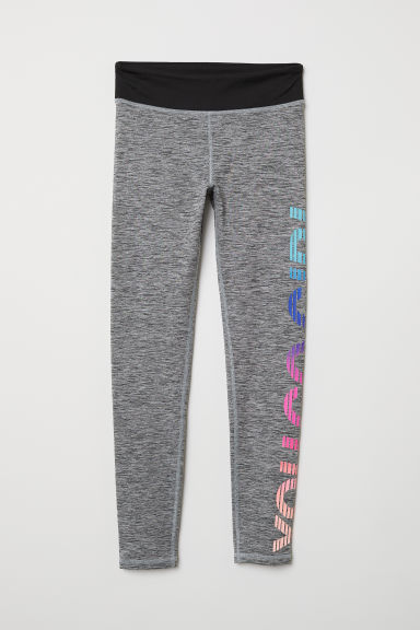 Sports tights - Grey marl/ You Go Girl - Kids | H&M CN
