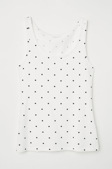Jersey vest top - White/Spotted -  | H&M