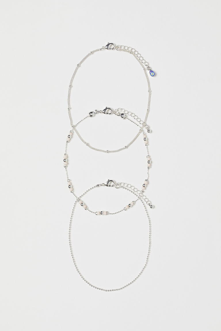 3-pack anklets - Silver-coloured/Lt powder pink - Ladies | H&M GB