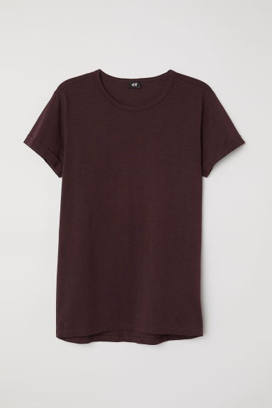 Slub jersey T-shirt - Burgundy - Men | H&M