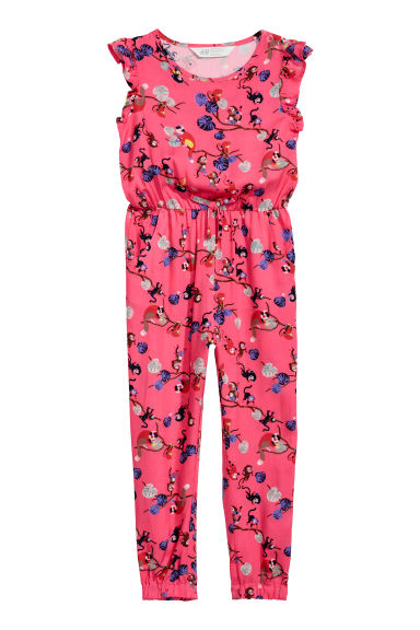 Patterned jumpsuit - Pink/Monkeys - Kids | H&M