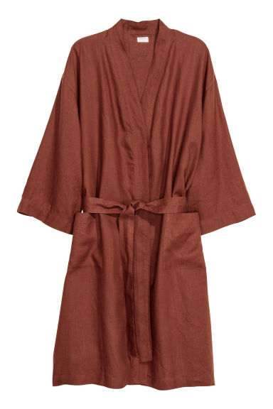 Washed Linen Bathrobe - Rust - Home All | H&M US