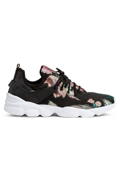 Mesh trainers - Black/Floral -  | H&M