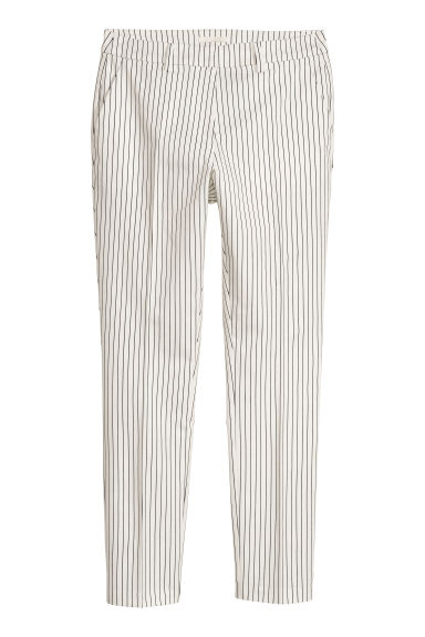 Cigarette trousers - White/Pinstriped -  | H&M CN
