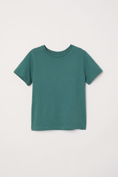 Cotton T-shirt - Dark green - Kids | H&M CN