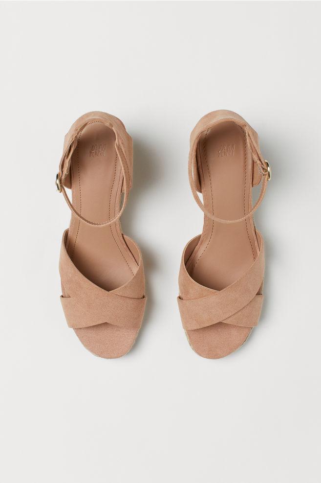 e95879e5639 Wedge-heel sandals - Powder beige - Ladies