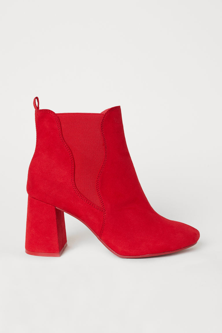 Ankle boots with elastic gores - Red - Ladies | H&M CN
