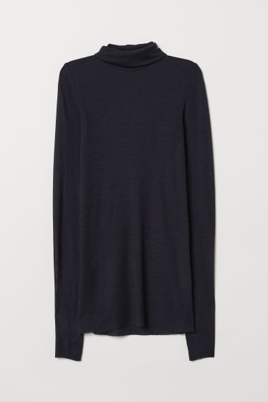 Cashmere-mix polo-neck jumper - Dark blue - Ladies | H&M CN