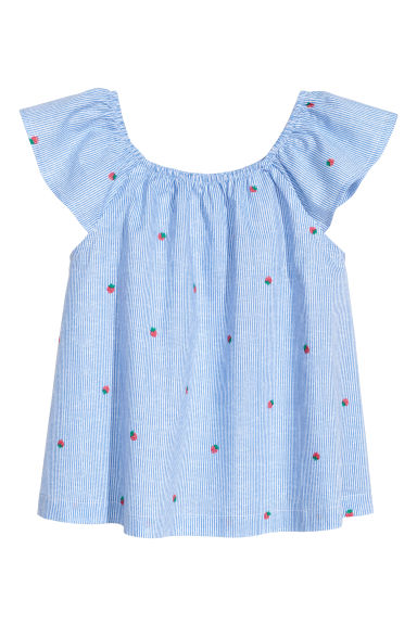Patterned cotton blouse - Blue/White striped - Kids | H&M