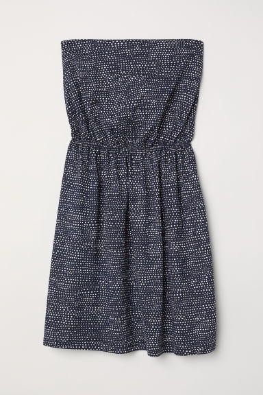 Strapless jersey dress - Dark blue/Spotted - Ladies | H&M CN