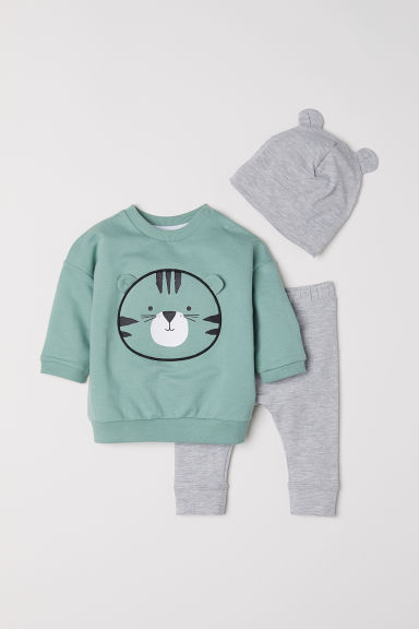 3-piece cotton set - Light green/Grey marl - Kids | H&M CN