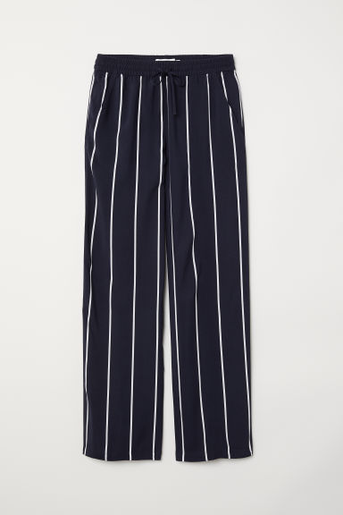 Wide trousers - Dark blue/Striped - Ladies | H&M