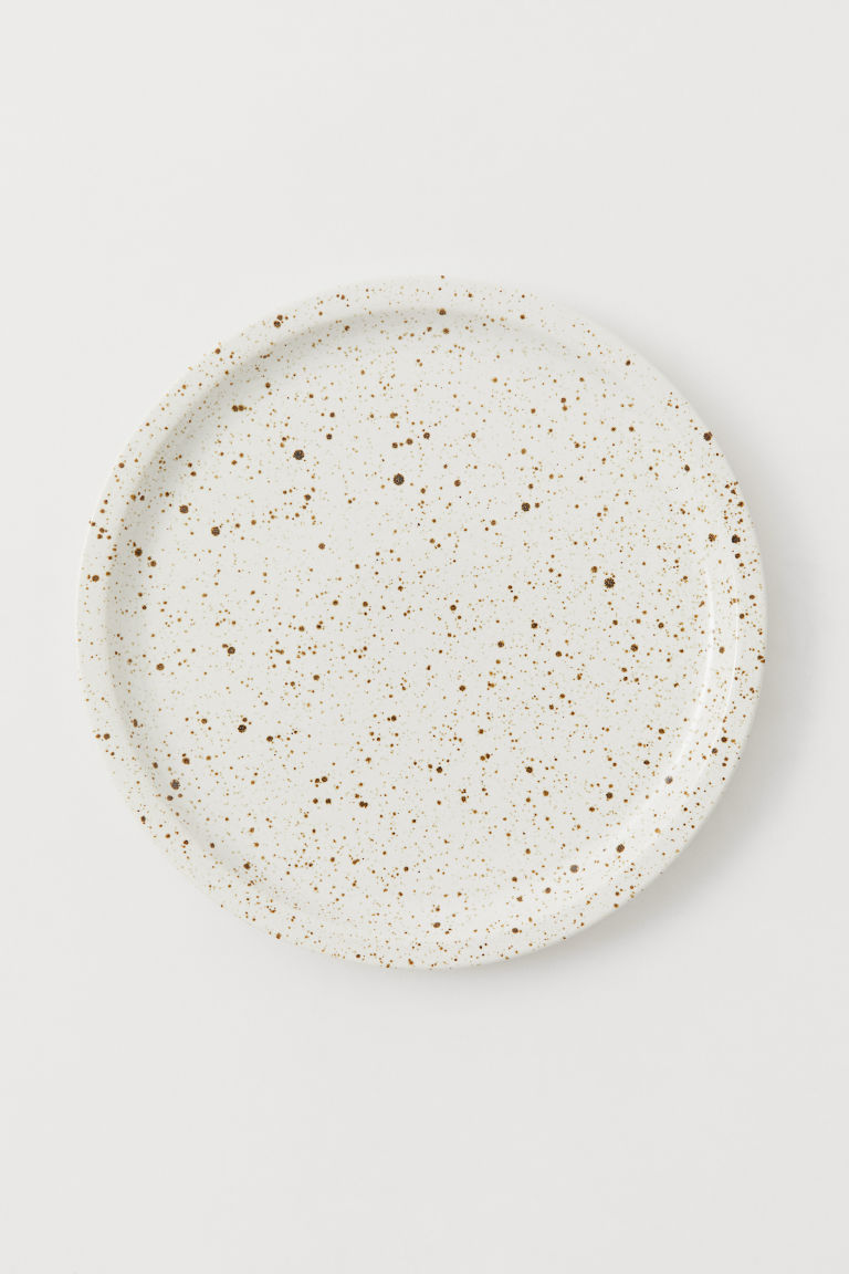 Ceramic plate - White/Brown speckled -  | H&M CN