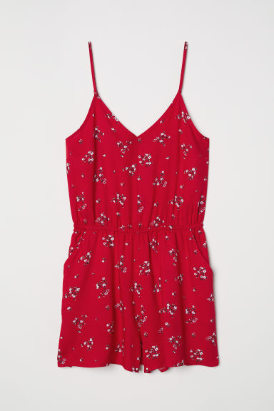 Playsuit - Red/Small floral - Ladies | H&M CN