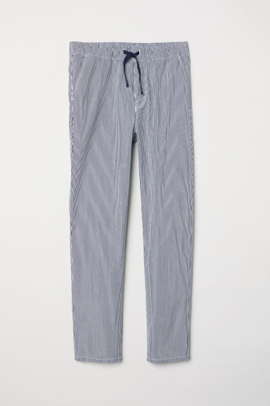 Pantaloni pull-on in cotone - Blu scuro/righe - BAMBINO | H&M IT