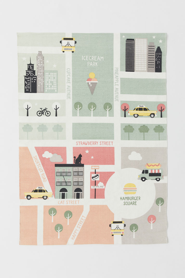 Map-print cotton rug - Light green/City - Home All | H&M IE
