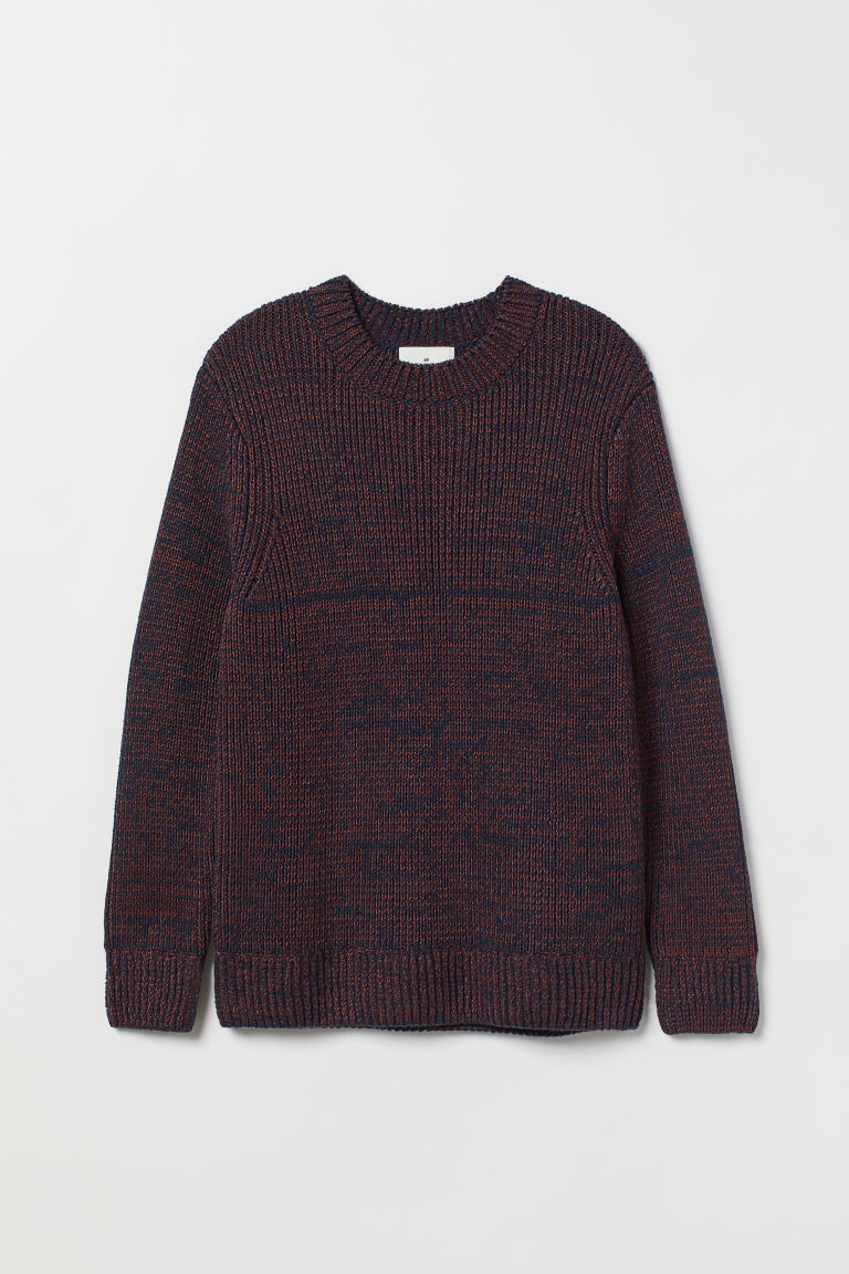 Linen-blend jumper - Rust brown/Dark blue marl - Men | H&M CN