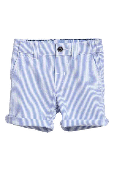 Cotton shorts - Light blue/White striped -  | H&M