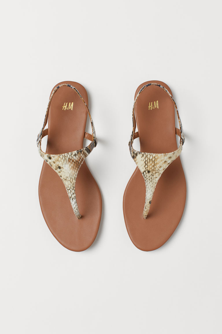 Sandals - Beige/Snakeskin-patterned - Ladies | H&M CN