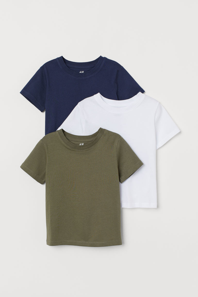 3-pack T-shirts - Khaki green/White/Dark blue - Kids | H&M