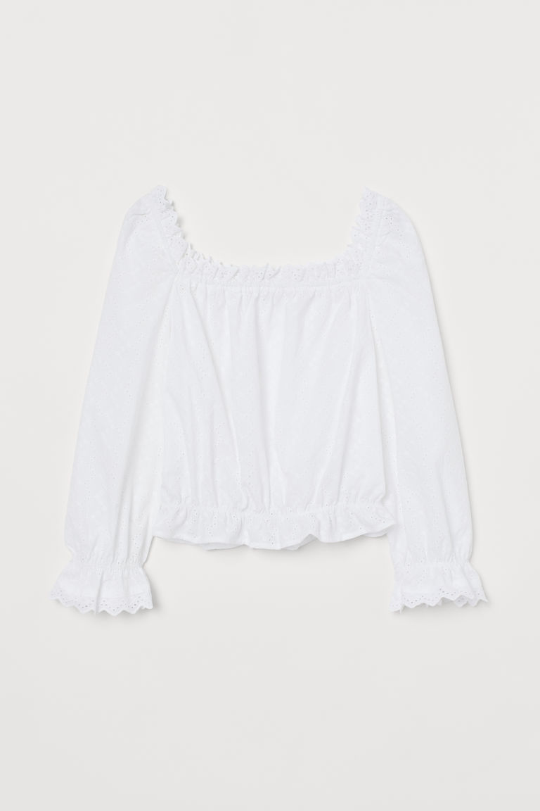 Blus med broderie anglaise - Vit -  | H&M FI