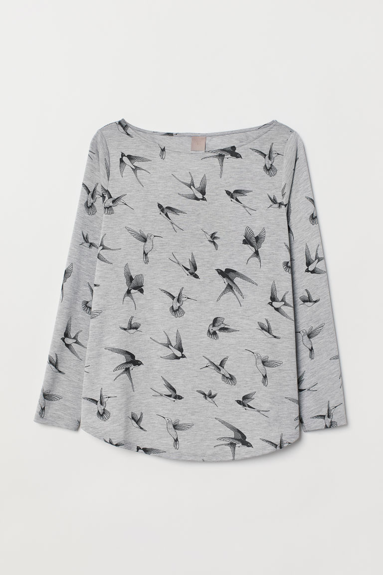 H&M+ Jersey top - Light grey marl/Birds - Ladies | H&M