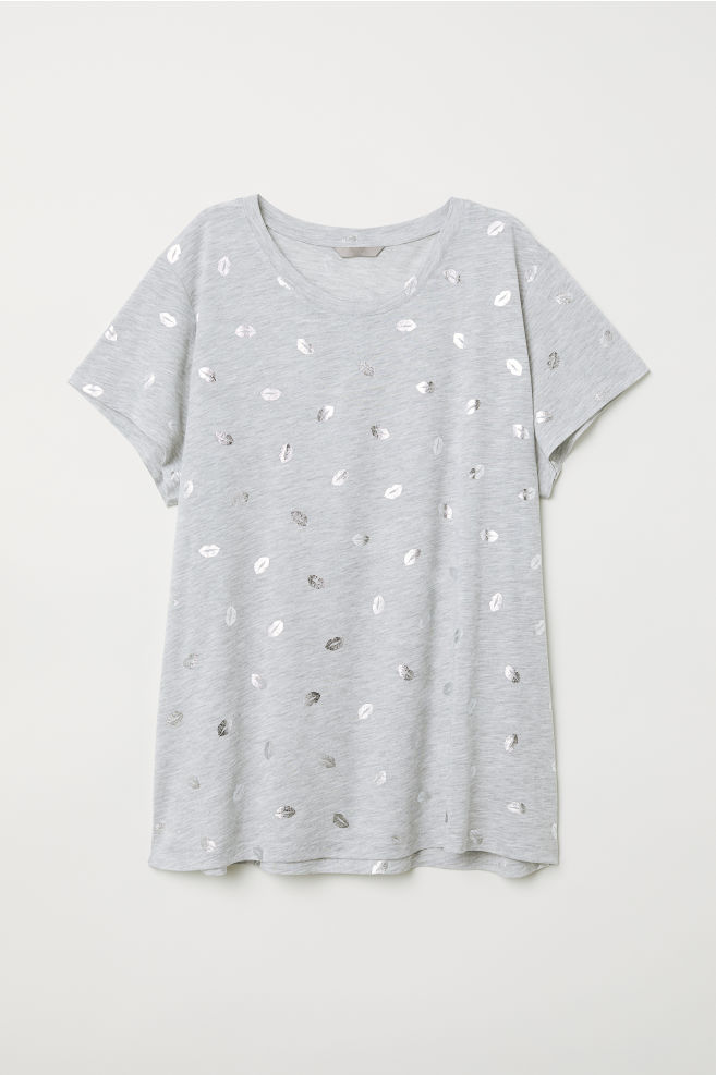 676b2aa2b82f H&M+ Printed T-shirt - Light gray/lips - Ladies   H&M ...