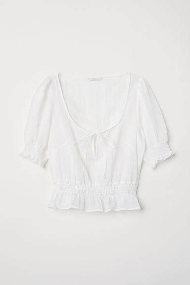 Airy blouse with smocking - White - Ladies | H&M