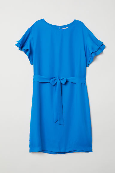 Flounce-sleeved dress - Blue - Ladies | H&M CN