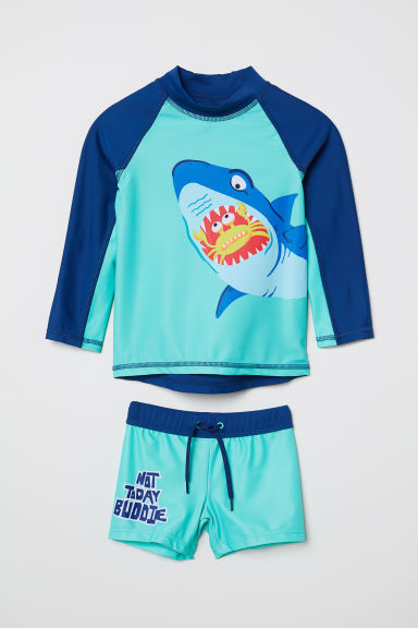 Swim set with UPF 50 - Dark blue/Shark - Kids | H&M