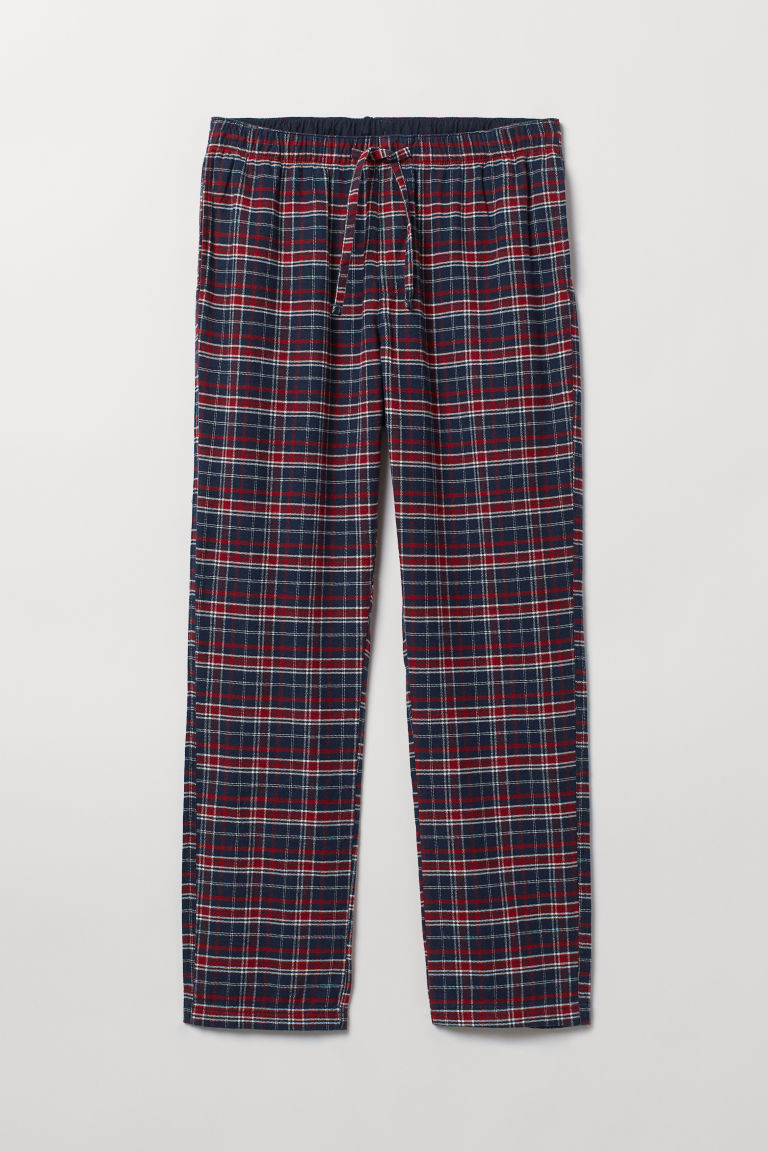 Flannel pyjama bottoms - Dark blue/Red checked - Men | H&M CN
