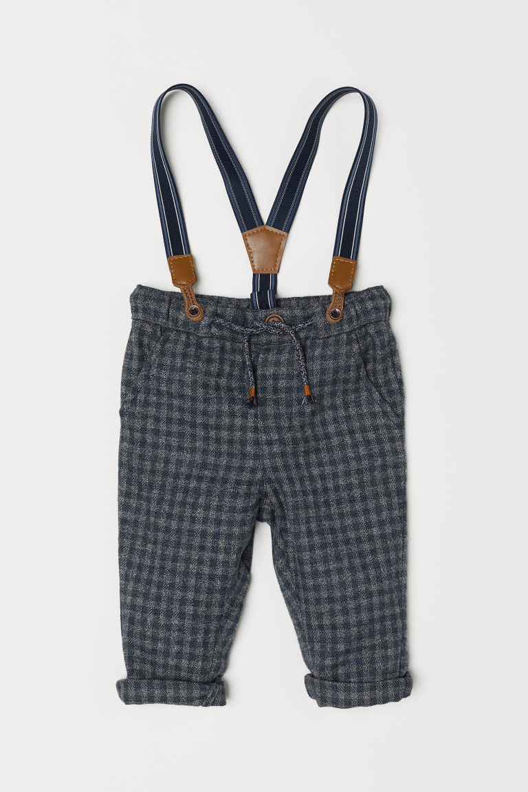 Trousers with braces - Dark grey/Checked - Kids | H&M CN