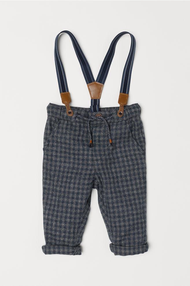 Pantaloni con bretelle - Grigio scuro quadri - BAMBINO  a833502b9f77