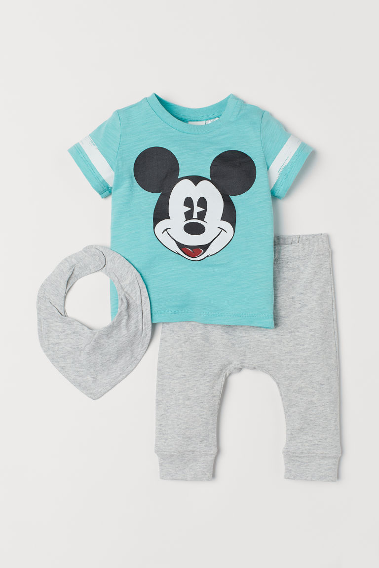 T-shirt and trousers - Turquoise marl/Mickey Mouse - Kids | H&M CN